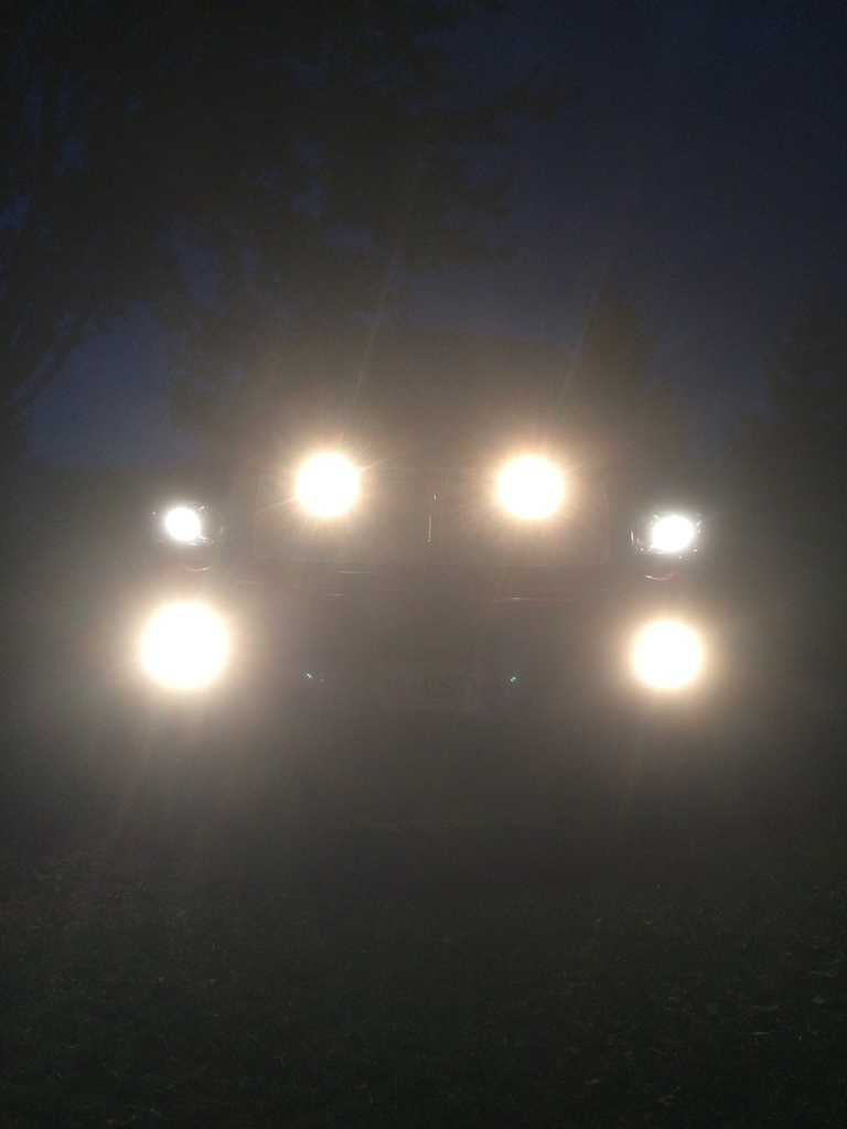 "Put 2 more fog lights behind the grille. 50"" light bar added to the roof this week then lighting will be done."