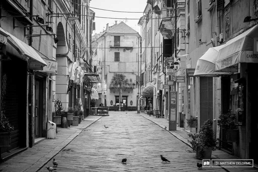 At seven thirty in the morning on Sunday the streets of Finale are deserted. They would soon come alive as riders headed into the Piazza to start this final day of the EWS for 2014.