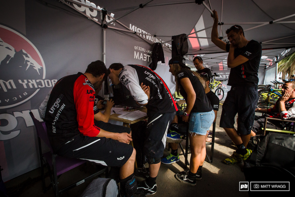 The Rocky Mountain team checking to see how the team competition went. In the end the Trek team were that bit stronger but for a relatively small team with a squad of young riders it s an unquestionably impressive accomplishment.
