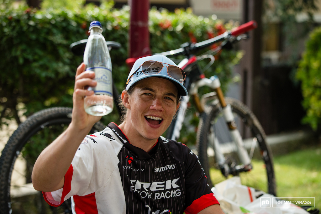 I was sent to look for photos of beer and celebration. Tracy Moseley was getting loose with the mineral water clearly saving herself for the podium where she necked her bottle of champagne.