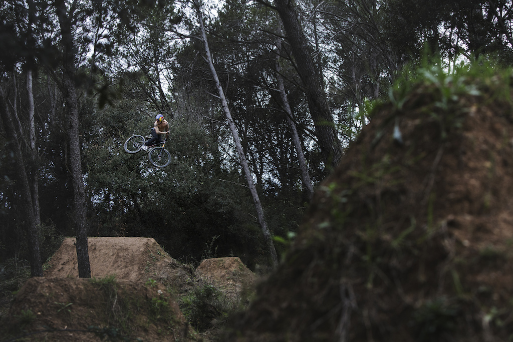 Andreu keeping it cas at his secret home trails. Shot for the portrait interview in DIRT Magazine #149.