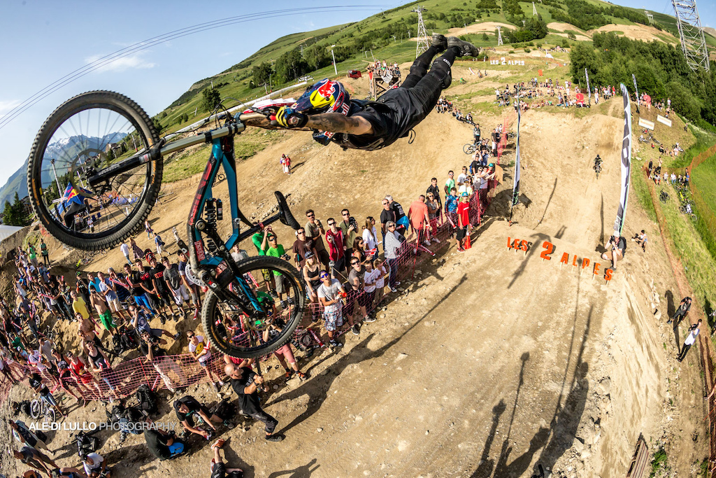Superman close up during the best whip at crankworx 2 Alpes