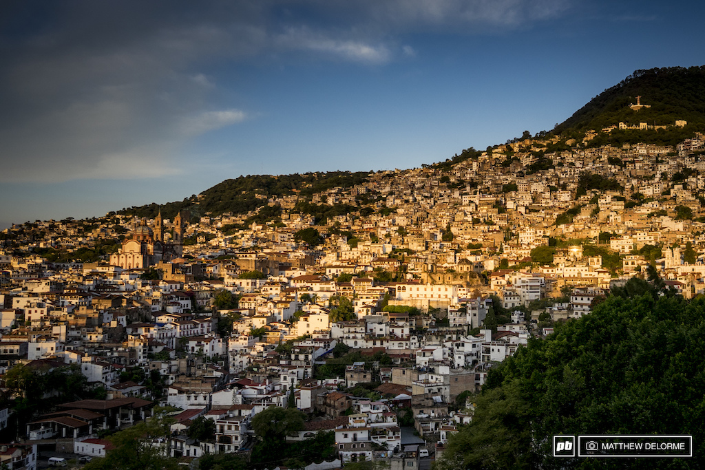 Sunrise warms the face of the hill in Taxco.