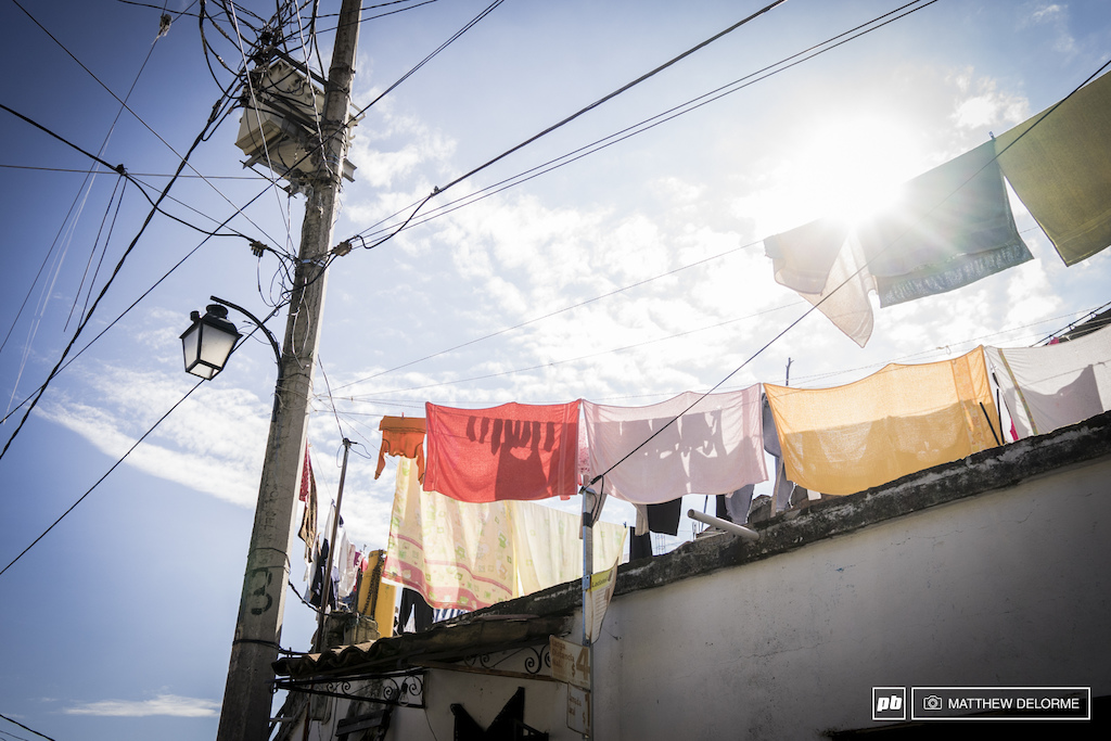 It's hard not to think the drying laundry here  looks very much like the prayer flags of Tibet.