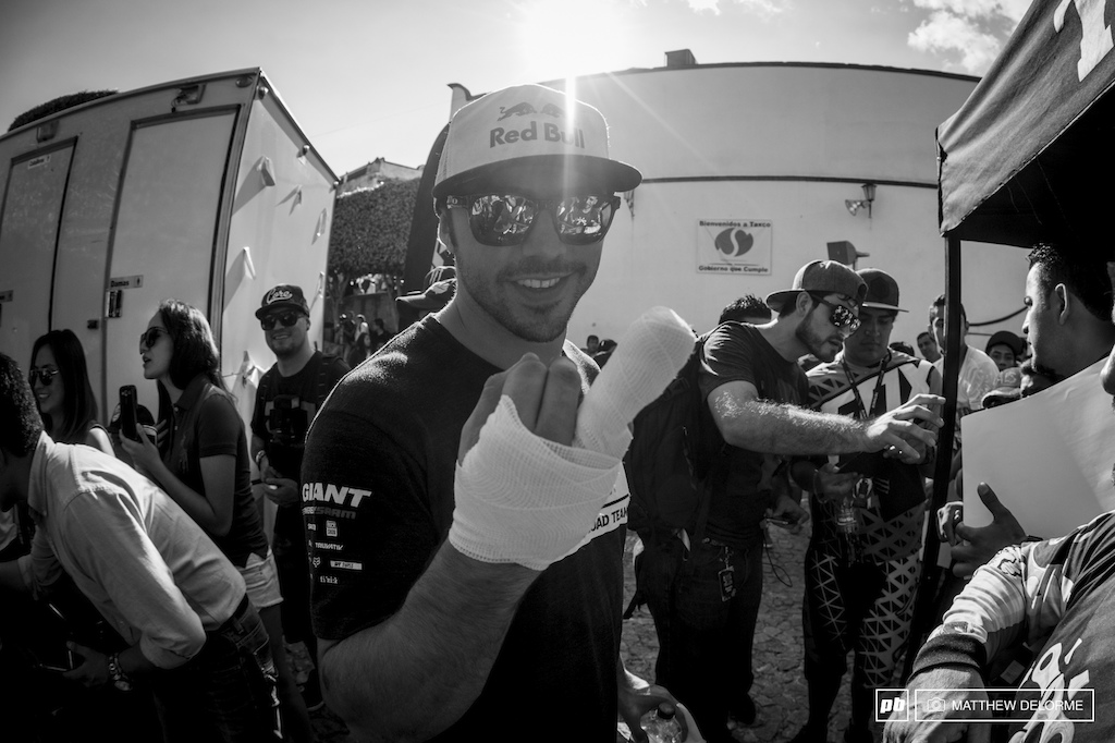 Bandaged up at the end of the race. Marcello had to make a trip to another hospital this evening to ensure his finger is well taken care of.
