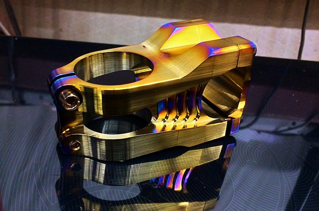 """New bling for the Nomad: 31.8, 55mm, 3 deg rise Titanium stem for a 1.5"""" straight steerer."""