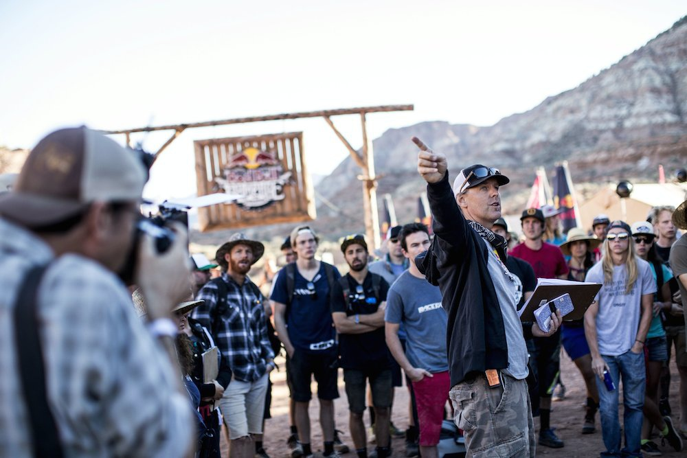 Event organiser Todd Barber talks to the athletes during Red Bull Rampage in Virgin Utah USA on 25 September 2014. Dean Treml Red Bull Content Pool P-20140926-00154 Usage for editorial use only Please go to www.redbullcontentpool.com for further information.