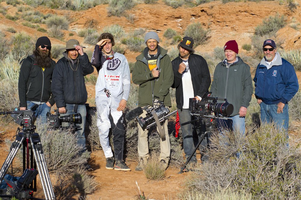 Brandon Semenuk poses with the Freeride Entertainment Camera Crew after his successful backflip shot while filming for the movie Rad Company in Virgin Utah USA on 28 March 2014. John Gibson Red Bull Content Pool P-20140625-00138 Usage for editorial use only Please go to www.redbullcontentpool.com for further information.