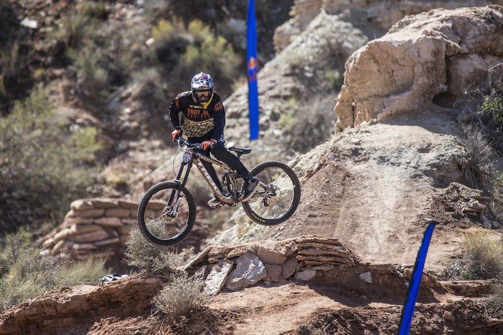 Brandon Semenuk of Canada in action during the finals of Red Bull Rampage in Virgin Utah USA on 29 September 2014. Dean Treml Red Bull Content Pool P-20140930-00171 Usage for editorial use only Please go to www.redbullcontentpool.com for further information.