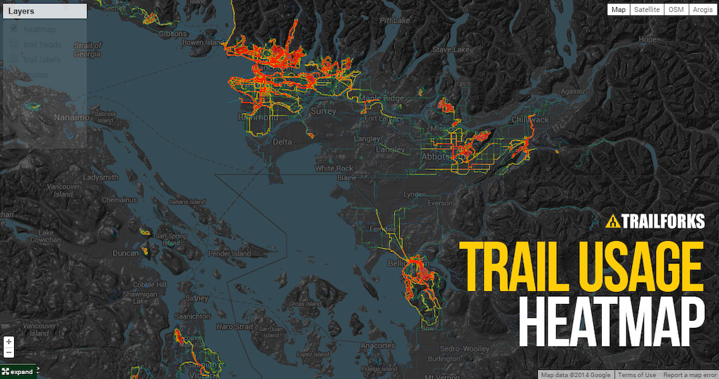worldwide mountain biking heatmap