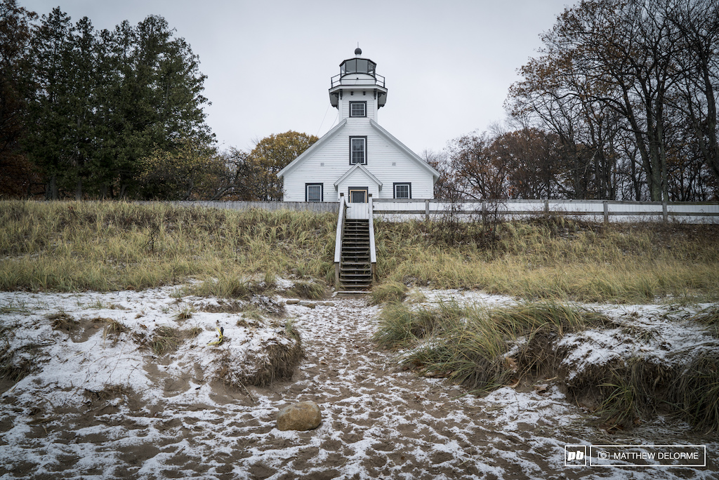 The Old Mission Lighthouse at the tip of the peninsula.