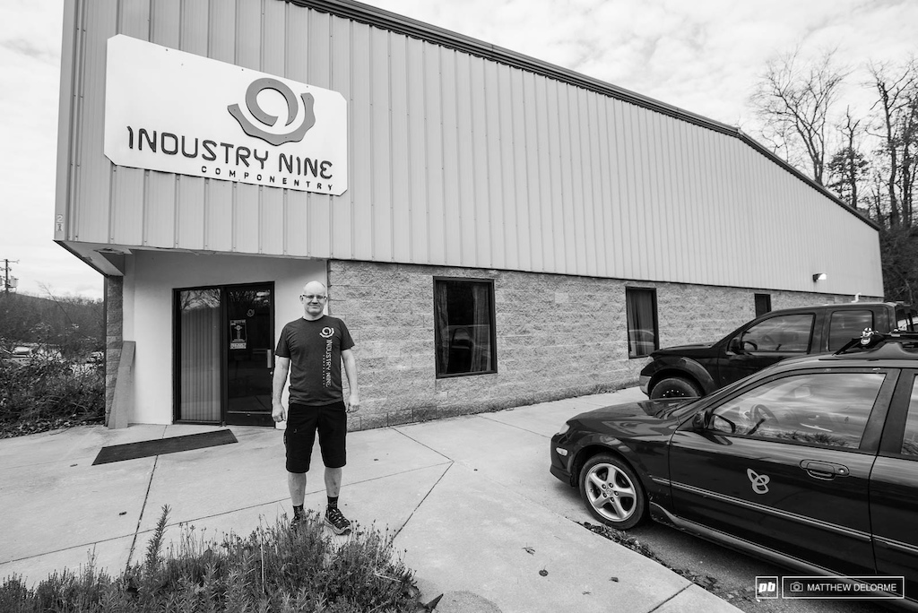 Clint Spiegel the man behind Industry Nine out side the company s discrete Ashville North Carolina headquarters. It is now Industry Nine s tenth year building some of the best wheels in the business.