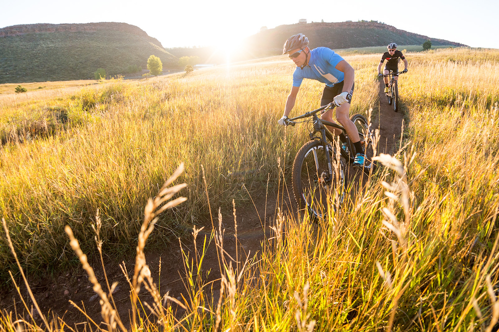 Brad Cole and Cormac Dunn ride the Niner Bikes AIR 9 RDO on the Nomad Trail near Fort Collins, Colorado.