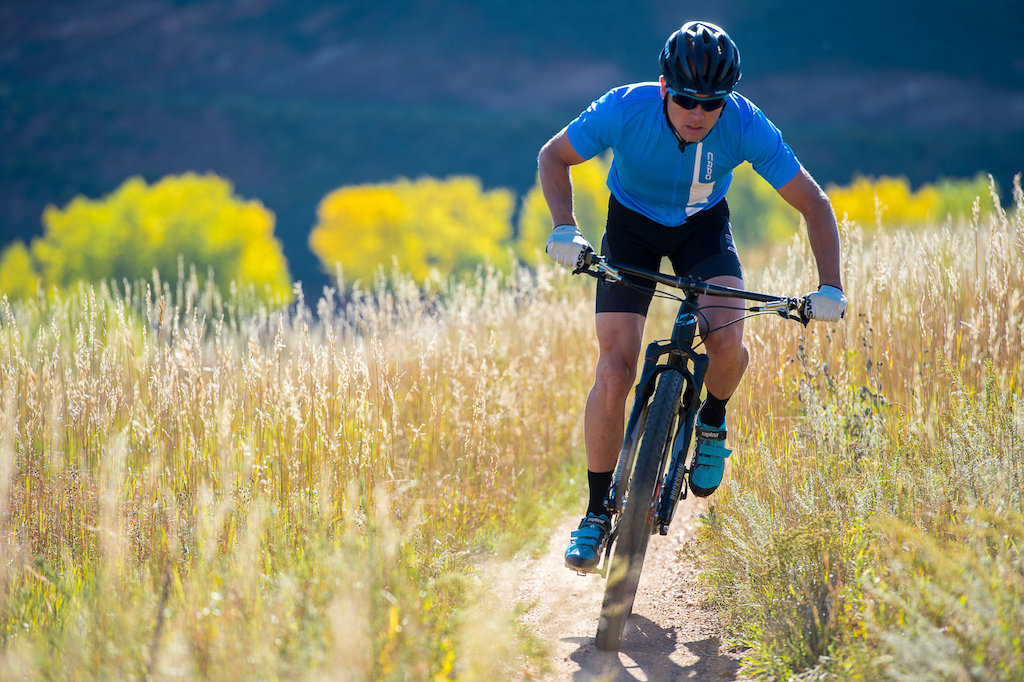 Brad Cole rides the Niner Bikes AIR 9 RDO on the Nomad Trail near Fort Collins Colorado.