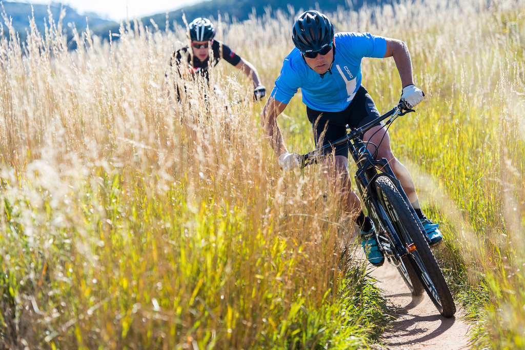 Brad Cole and Cormac Dunn ride the Niner Bikes AIR 9 RDO on the Nomad Trail near Fort Collins Colorado.