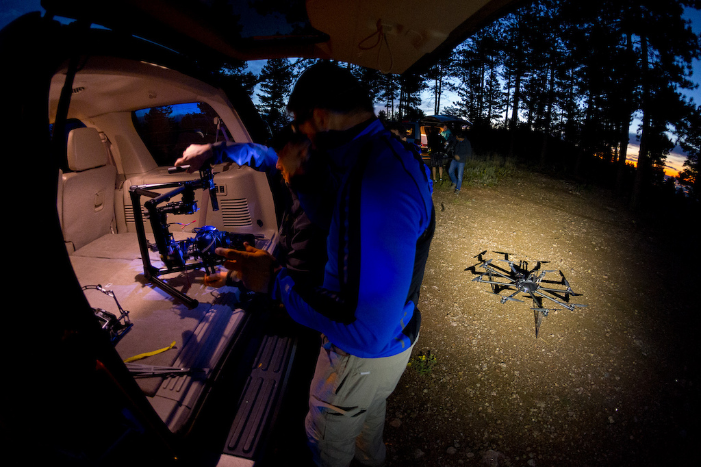 Greg Massey and Ryan Goble prepare the drone for the first days sunrise shoot. Being ready to shoot at first light means being on location long before the sun comes up.