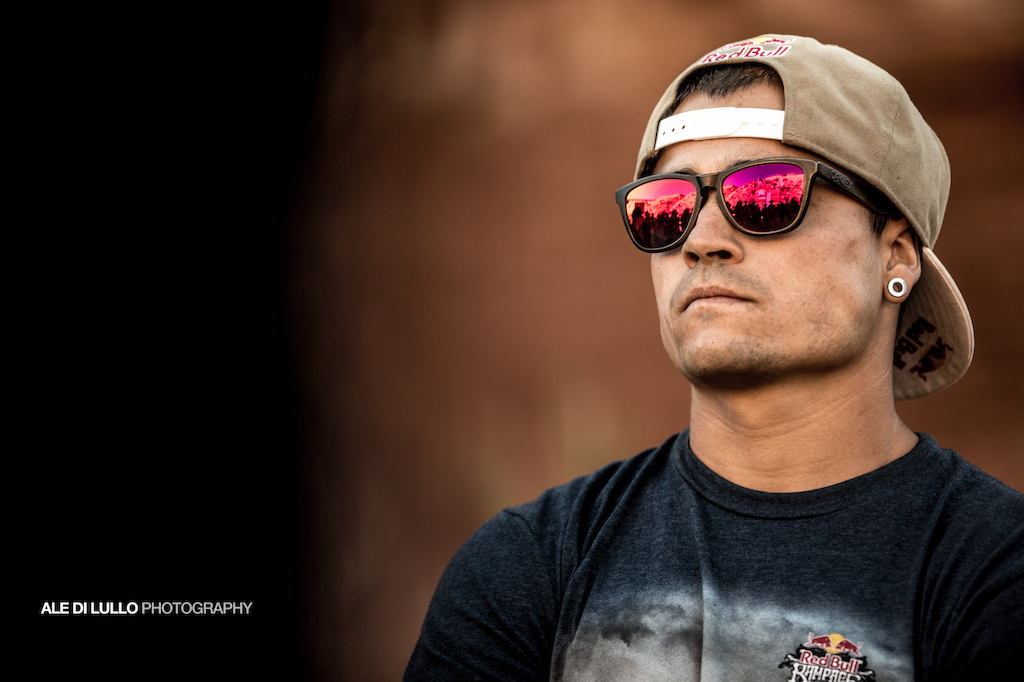 The reflection of Rampage podium in andreu s sunglasses.