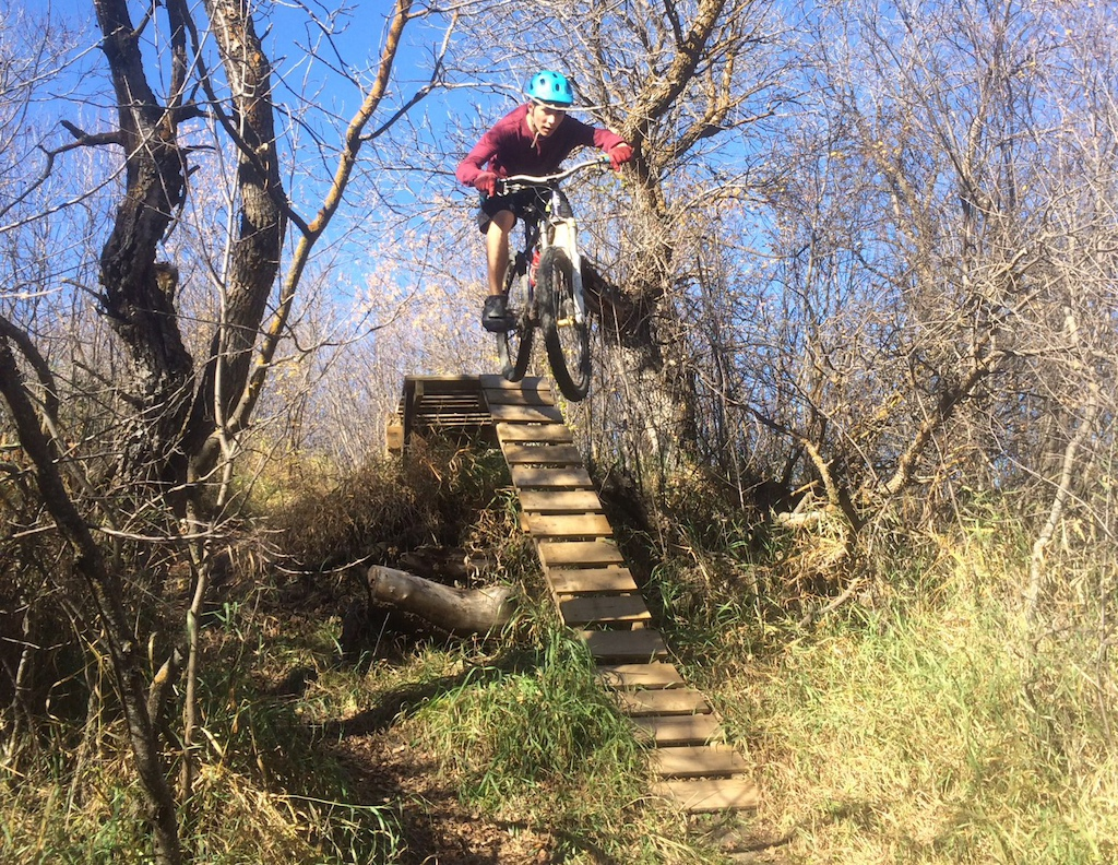 "When I showed up at Wascana Trails I asked the first guy I saw about ""the jump"". He took me here and took a picture."