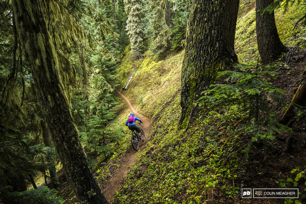 Jill Kintner taking time away from chasing seconds between the tape to shred the duff on Ranger Creek Trail.