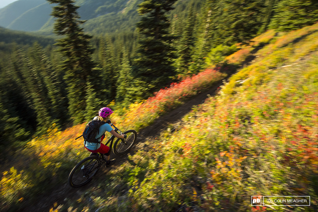 Kim Russell rolling the crest of Dalles Ridge through the changing colors of the season.