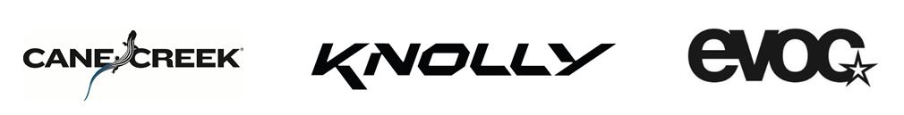Cane Creek Knolly and Evoc logos