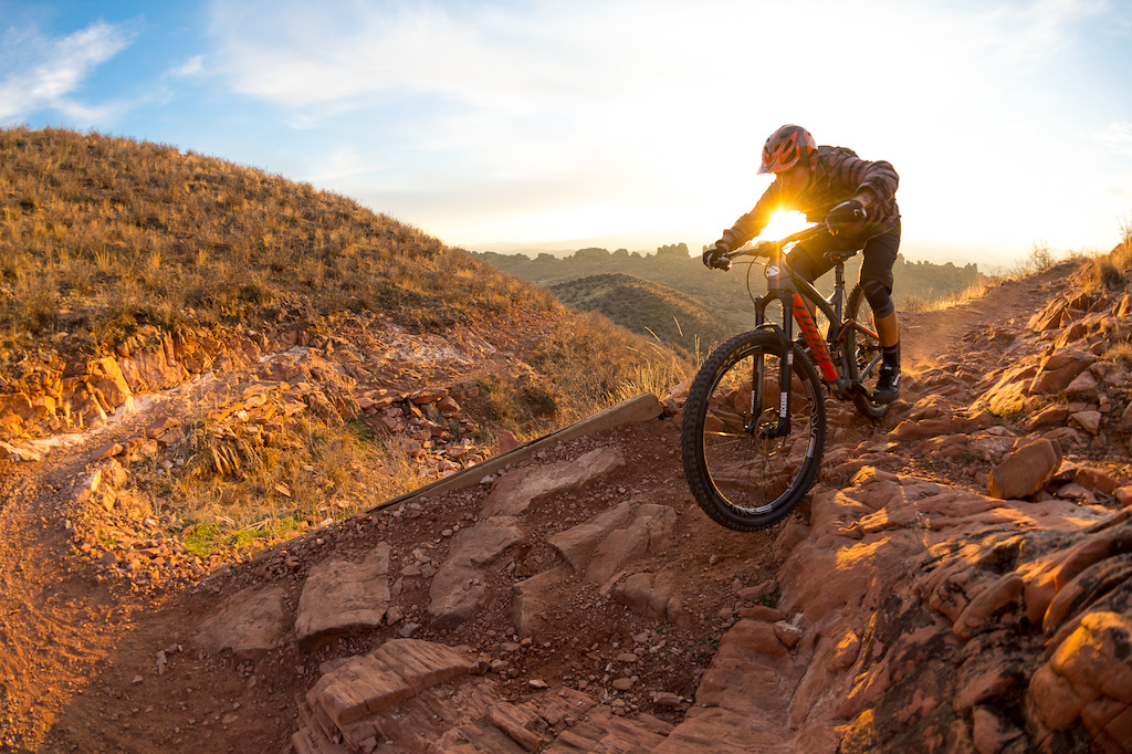 Nate Adams test rides the new Niner Bikes RIP 9 Carbon on the Devils Backbone trail near Fort Collins.