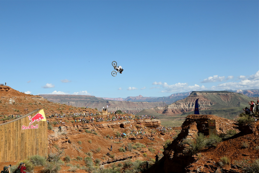 Tom van Steenbergen attempted this front flip over the 73 ft canyon gap during Red Bull Rampage 2014