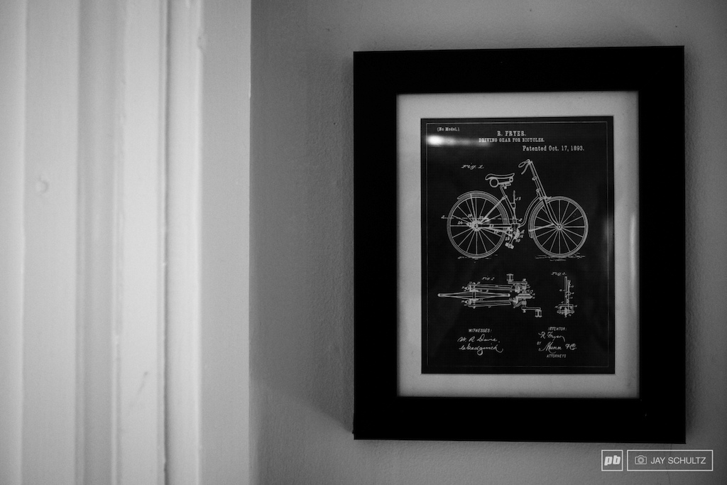 Choice of Wall Art Yes of course there s a Dungey Fathead in the living room but this piece of wall art was much more interesting and not something we expected to see hanging on the wall in the house of Mulally .. a print of Richard s Fryer s 1893 patent for Driving Gear for Bicycles. It s the little things you notice that tell you about a person.