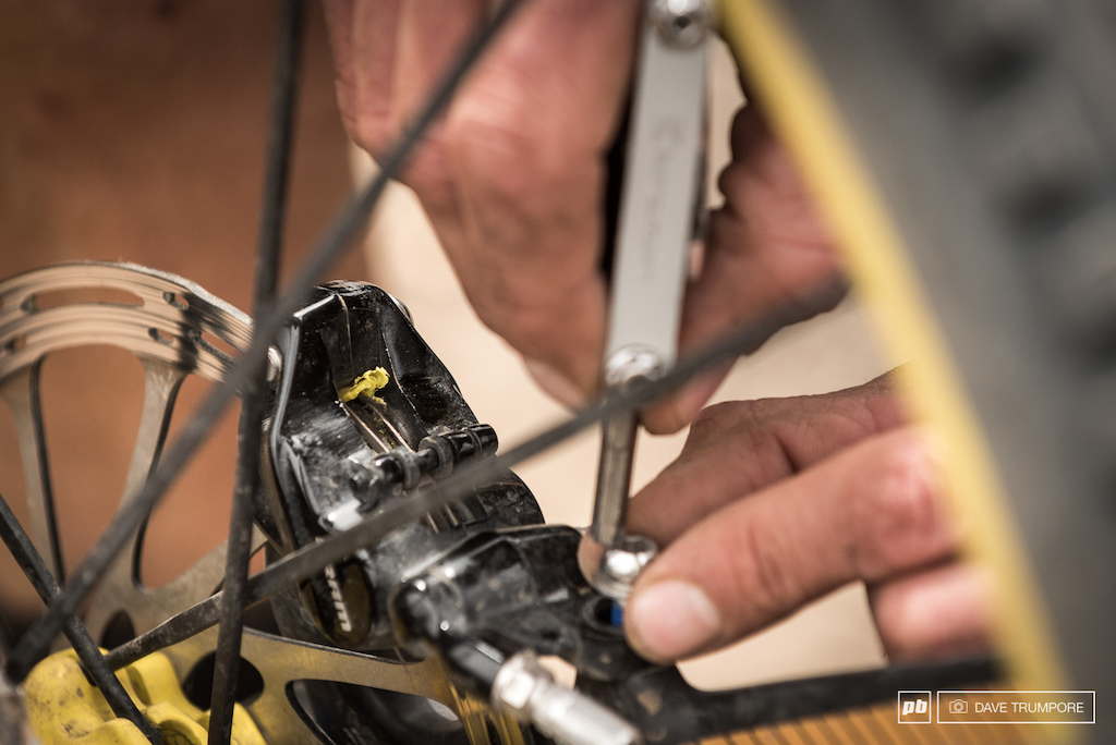 Fabien Barel lost a massive amount if time today when course tape became wrapped in his cassette and melted to his rotors on stage 3.