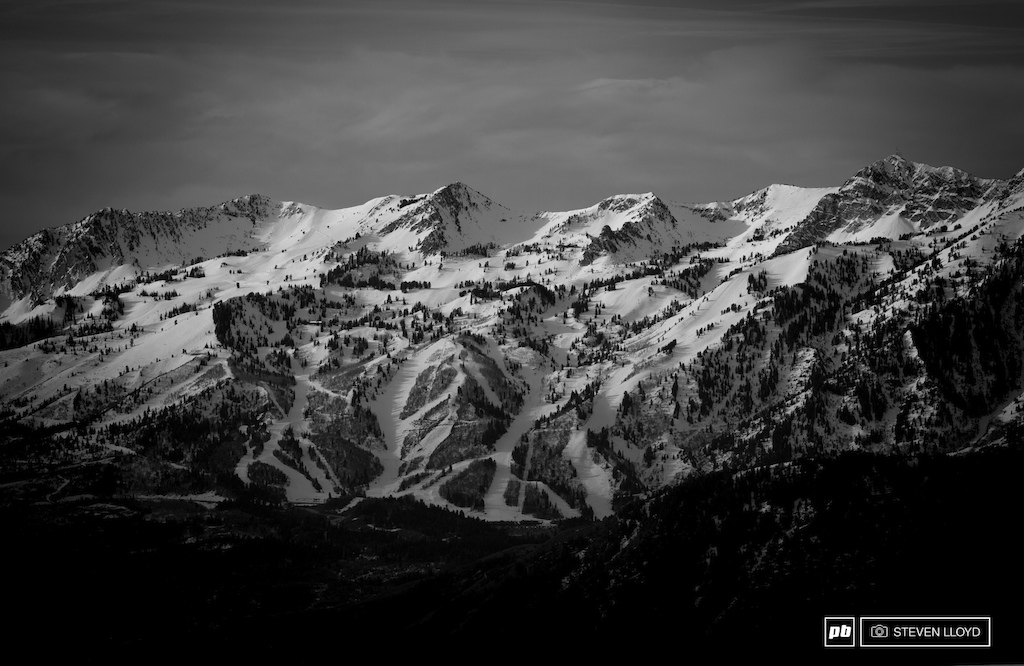 Amazing view of Snowbasin Resort from the top of Powder Mountain.