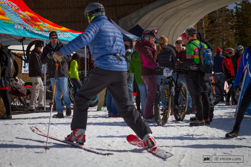 It was cool to see skiers and bikers hanging out together on site.
