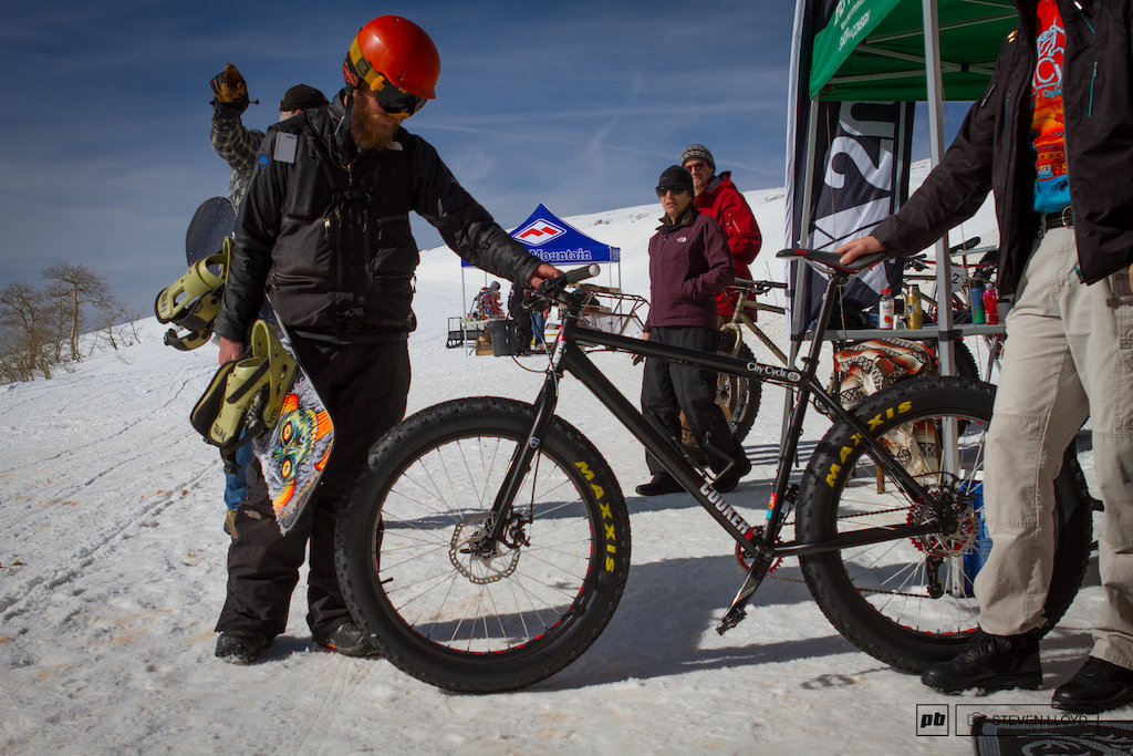 Even the snowboarders were stoked to check out fat bikes.