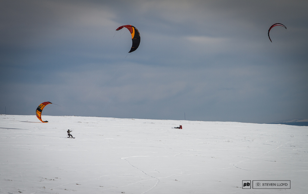 Winds were a factor as shown here by the local kite boarders riding only a few hundred yards away from the track.