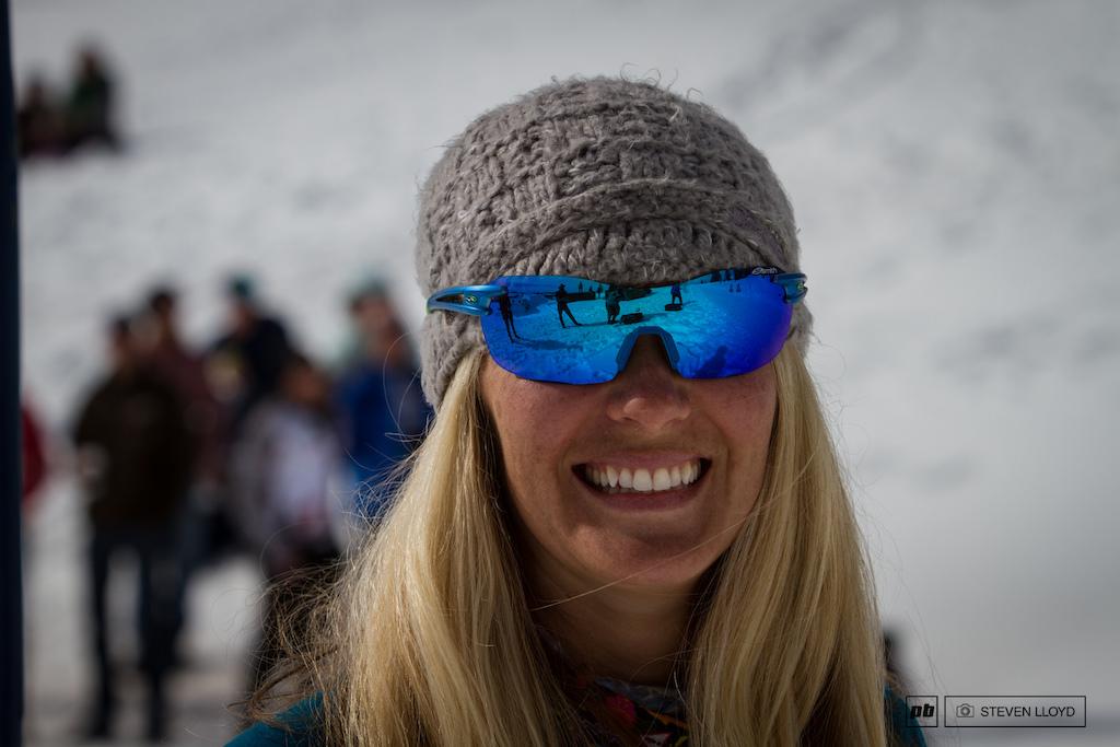 Debbie Mortensen with a big smile after winning womens master 30-39.
