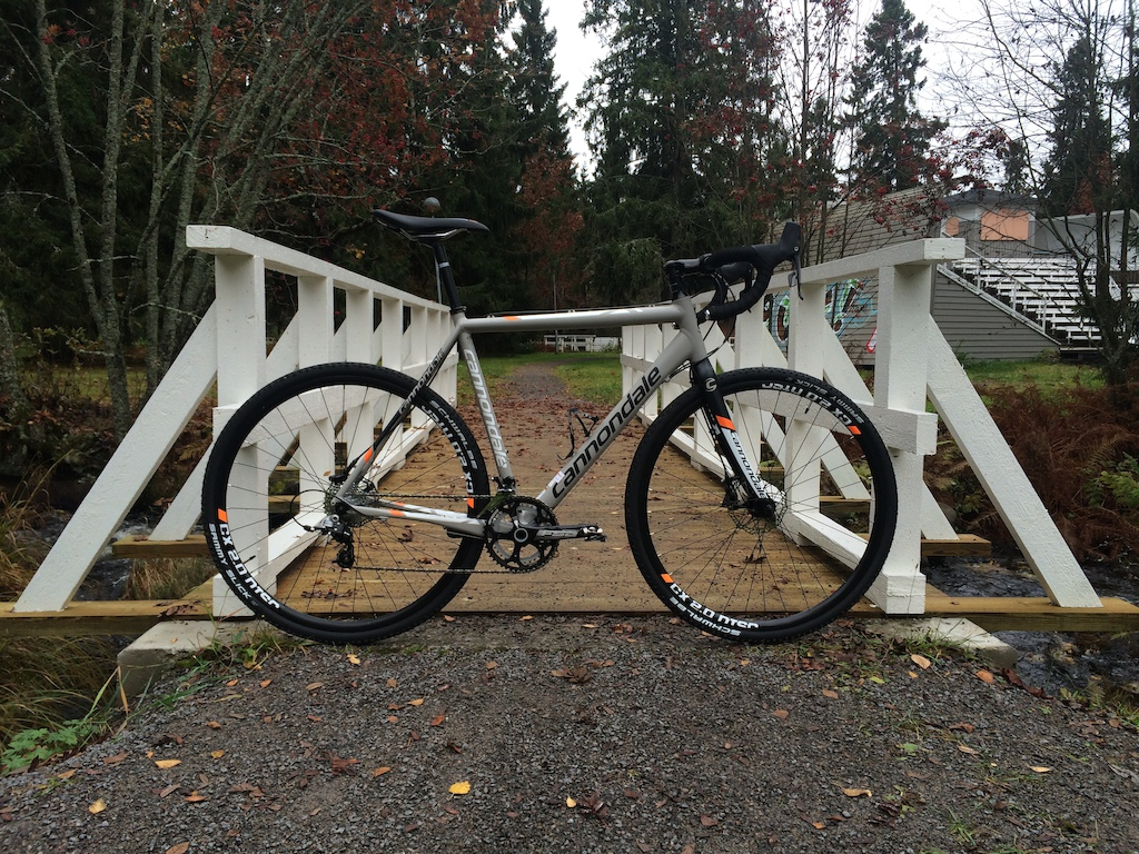 Cannondale CAAD X Rival 22 in size 56cm. This is closest to an actual road bike I've been so far, the first one to actually have drop bars and shifters. Old pic from last fall, now it's on 1 x 11 setup with RaceFace NarrowWide sprocket. I think I'll put it back to 22 speed for the summer though. I've changed the seatpost and stem to Thomson ones and gotten rid of that awful Cannondale OEM saddle. I really like the power and feel of the Rival 22 brakes, and the shifting has been quite flawless as well.  I've also been thinking of getting another wheelset for this bike, ones that could be ran tubeless, and leave the original wheelset for winter use only with studded tires.