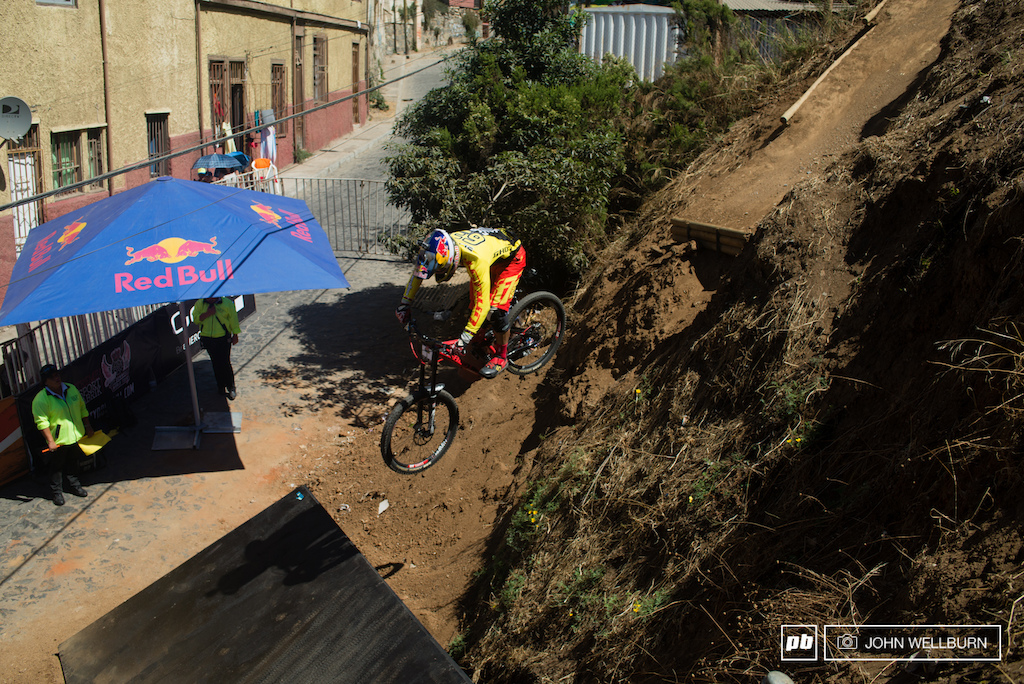 Tomas Slavik on the dirt to wood gap back into the streets.