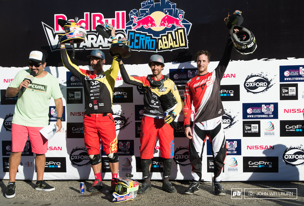 The 2015 Valparaiso Cerro Abajo top three podium . Flip Polc on top once again Tomas Slavik in Second and Johannes Fischbach in third.