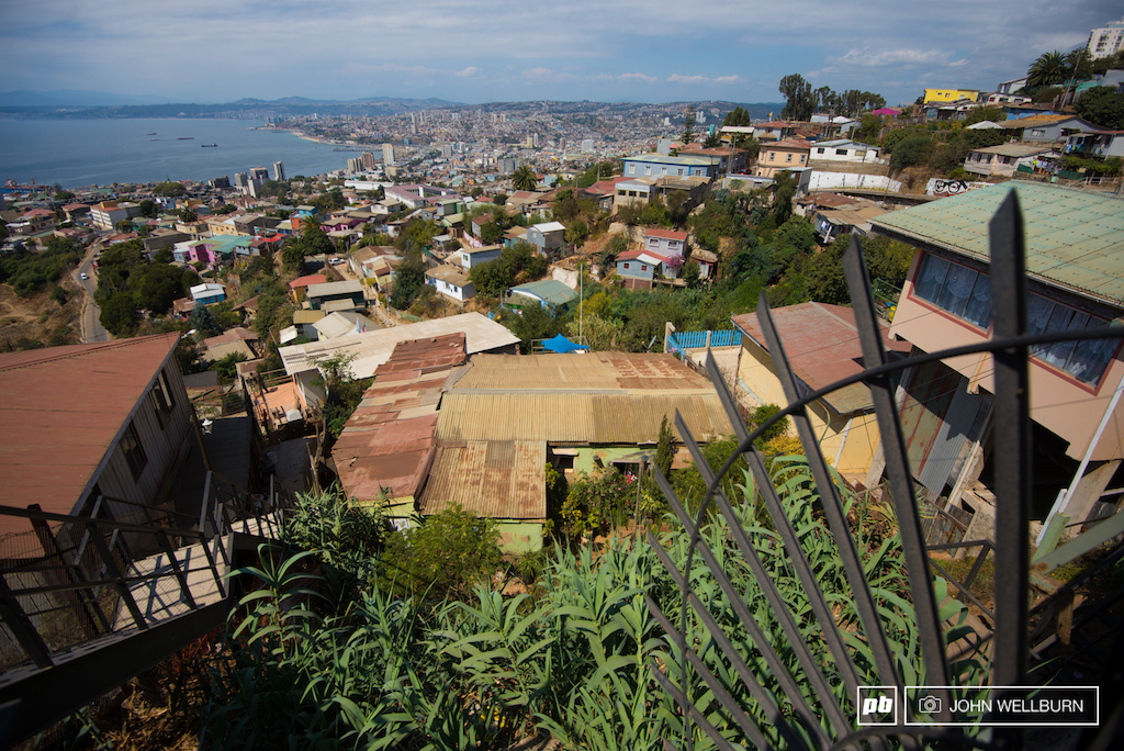 Stairs mazes of streets jagged metal and houses stacked on top of houses the perfect platform for a bad ass urban downhill course.