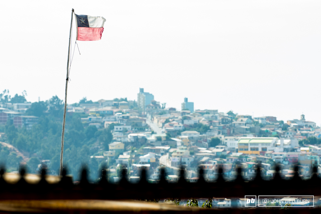 Chilean flag flying proudly in the gnar of the new Cerro Abajo course.