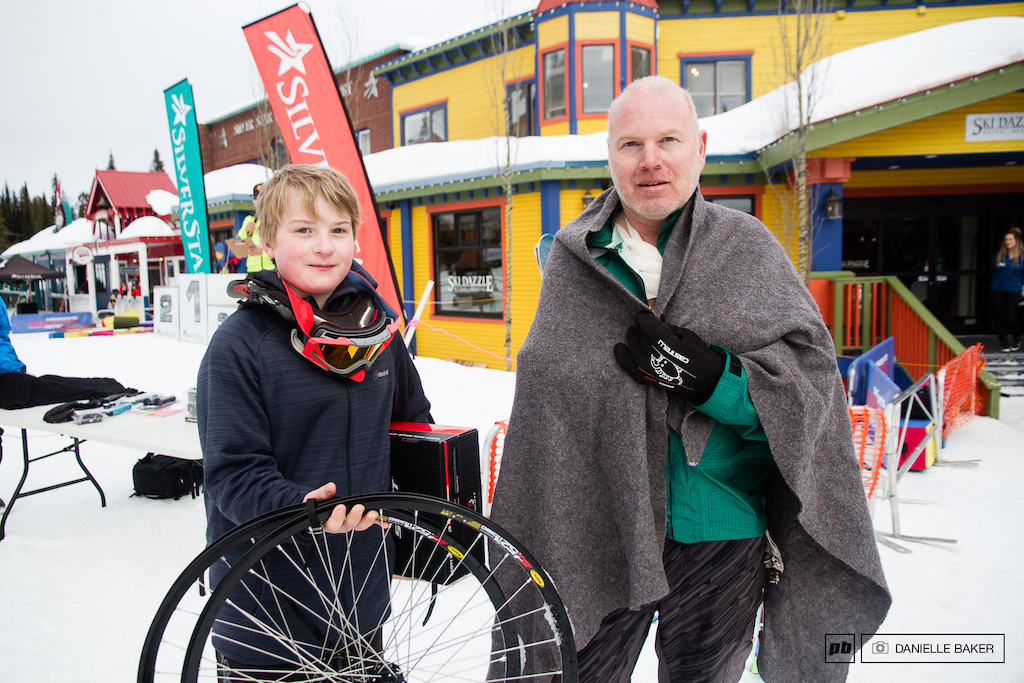 Dylan and his Dad Gerry take home some prizes for being the youngest and oldest competitors at FrostBIKE.