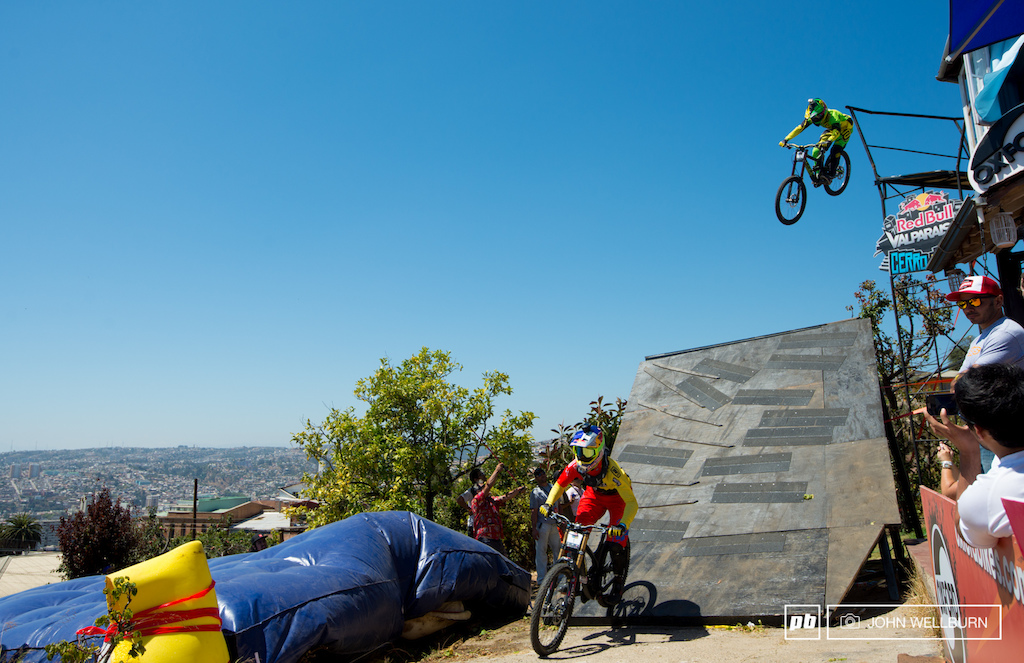Flip Polc and Bernardo Cruz train the house drop in practice.