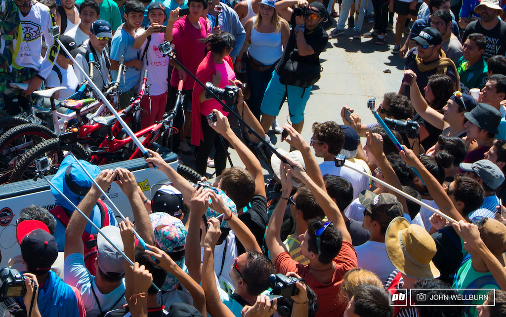 The big craze in Chile right now is the poles. Phones go pros a hot dog it s better on a pole or so they say.