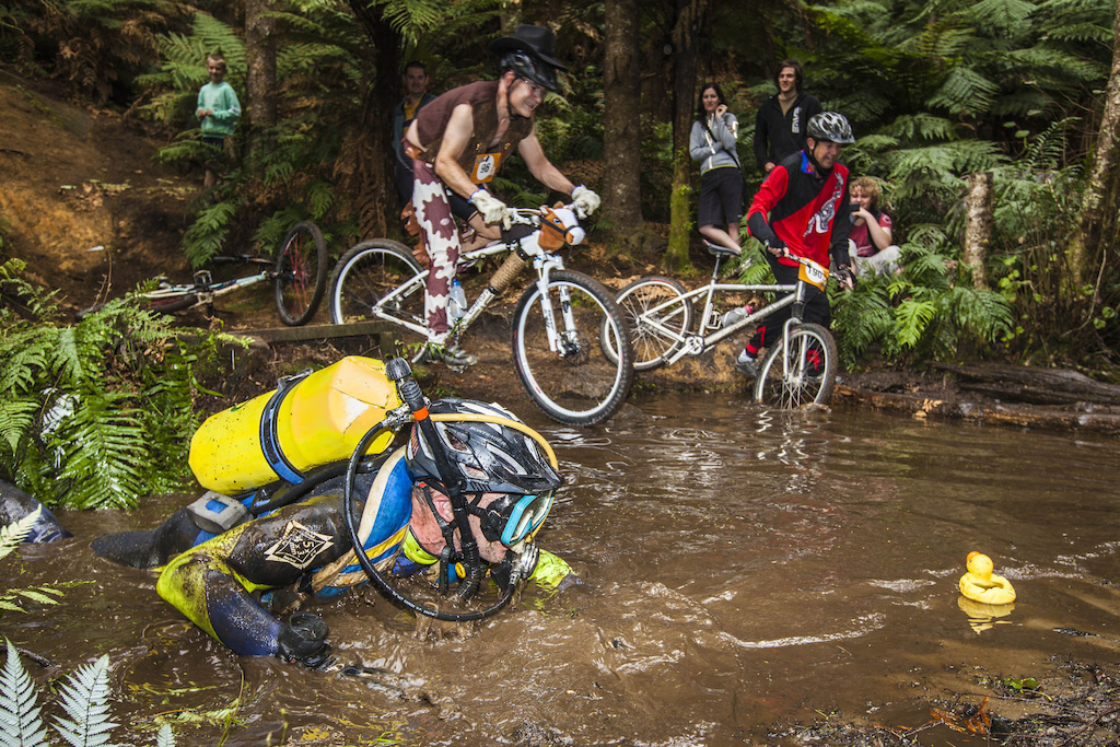 Best dressed at the 2013 New Zealand Singlespeed Championships in Rotorua, Wayne road all 3 eleven kilometre laps in full scuba gear and with flippers! Pic: Mead Norton...
