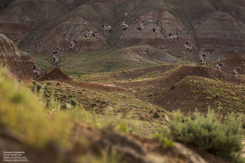 Tom VanSteenbergen successful bid at 70 foot front flip at Turtle Ranch, Wyoming. Sterling Lorence Photo.