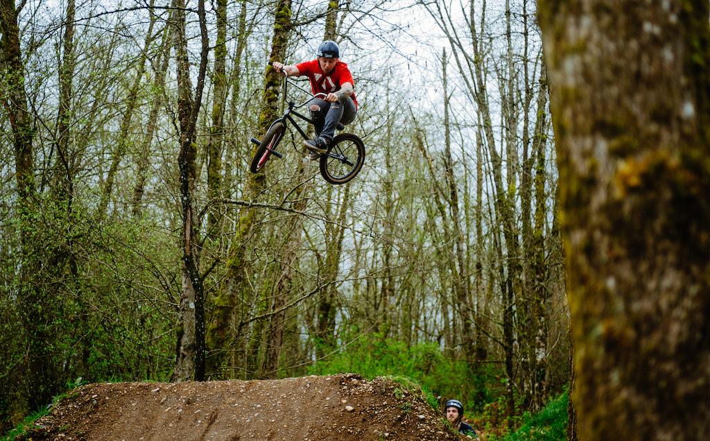 BMX style on the MTB jumps.......