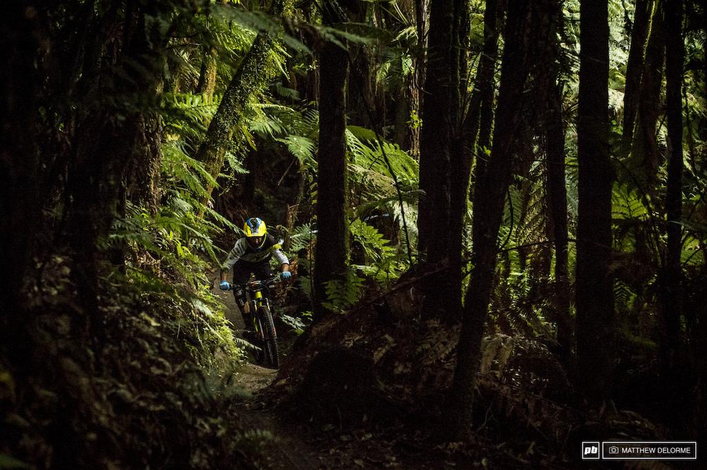 Dan Atherton was pushing hard through the dark woods of stage one this morning.