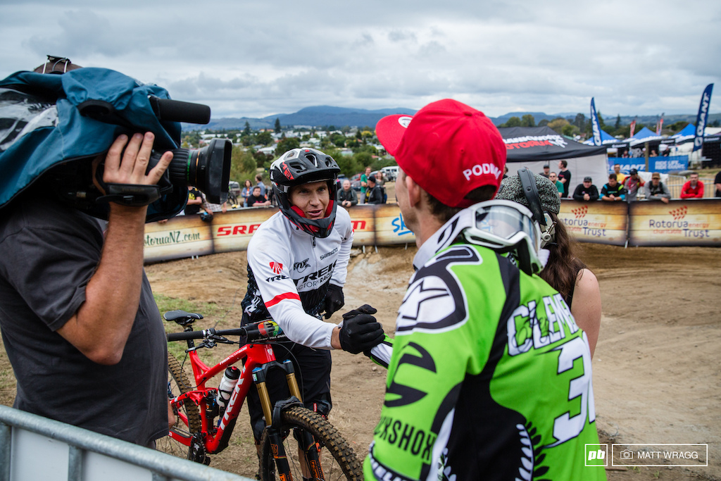Ever the sportsman, Justin Leov congratulates Jerome on his win. It was fourth today for Justin, but his consistency is clearly there once more with front-running times in six of the seven stages, and were it not for the 16 seconds he dropped on stage five he would have right up at the sharp end come podium time.