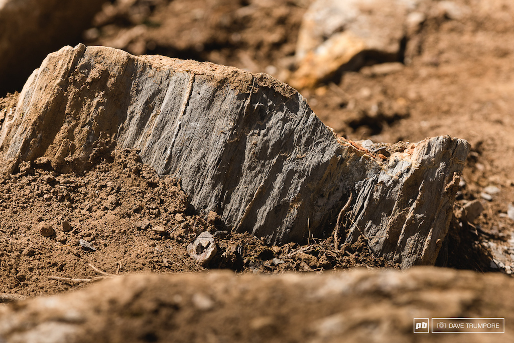 These sharp and ragged rocks exposed in the racing line are bound to be the nemisis of many many riders this weekend.