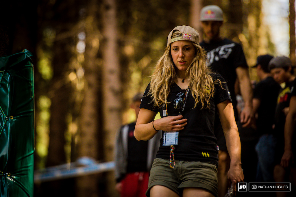 Rachel Atherton commits rocks to memory... there s tons of line choice and the track certainly has teeth.