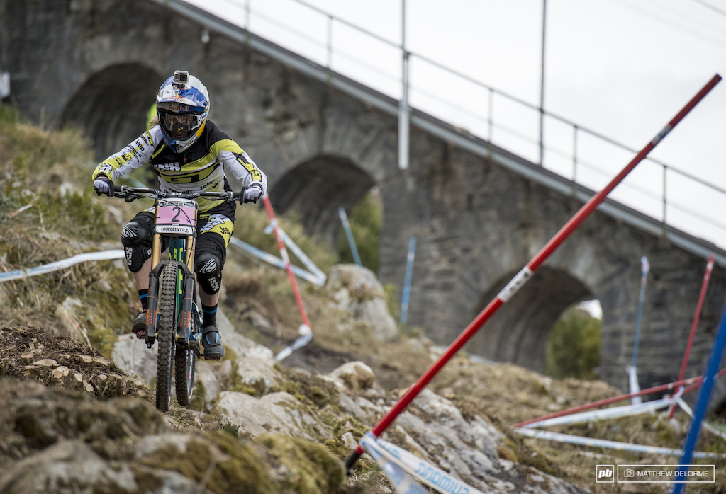 Rachel Atherton took after brother Gee today quickly putting up the fastest time in Women s timed training.